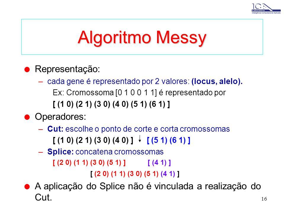 15 Algoritmos Alternativos l Algoritmos que buscam melhor desempenho (convergência) através de métodos não convencionais em algoritmos genéticos. l Al