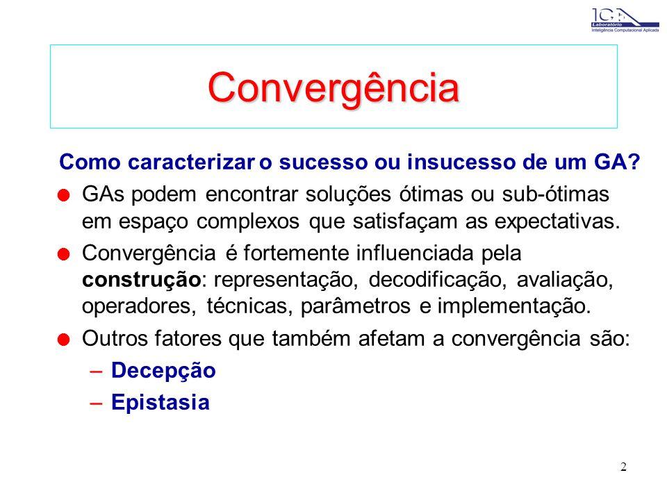 2 Convergência Como caracterizar o sucesso ou insucesso de um GA.