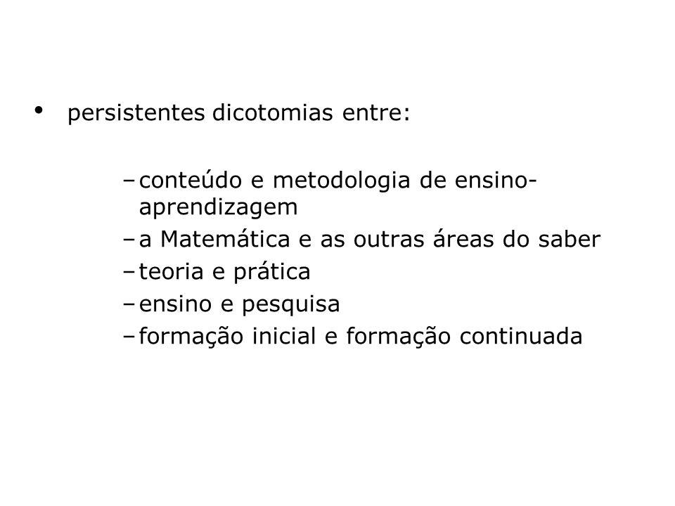 persistentes dicotomias entre: –conteúdo e metodologia de ensino- aprendizagem –a Matemática e as outras áreas do saber –teoria e prática –ensino e pe