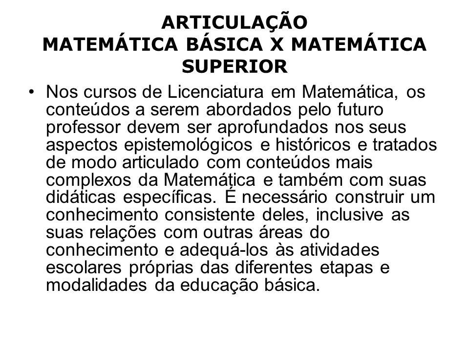 ARTICULAÇÃO MATEMÁTICA BÁSICA X MATEMÁTICA SUPERIOR Nos cursos de Licenciatura em Matemática, os conteúdos a serem abordados pelo futuro professor dev