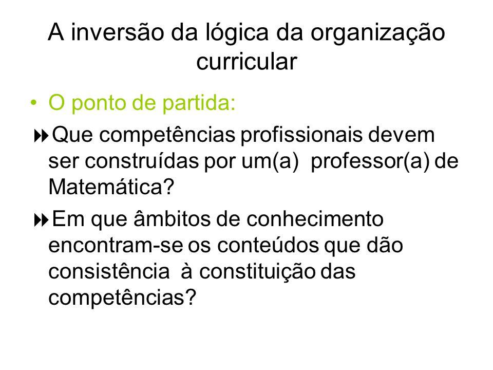 A inversão da lógica da organização curricular O ponto de partida: Que competências profissionais devem ser construídas por um(a) professor(a) de Mate