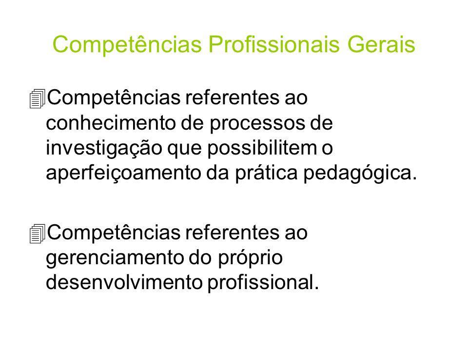 Competências Profissionais Gerais 4Competências referentes ao conhecimento de processos de investigação que possibilitem o aperfeiçoamento da prática pedagógica.