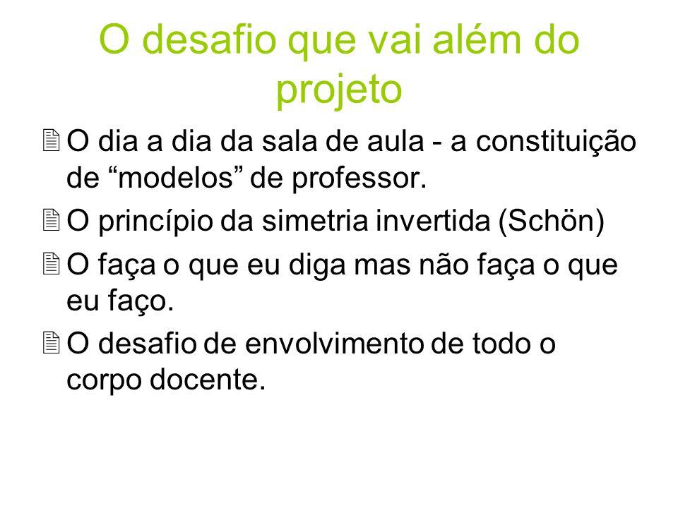 O desafio que vai além do projeto 2O dia a dia da sala de aula - a constituição de modelos de professor. 2O princípio da simetria invertida (Schön) 2O