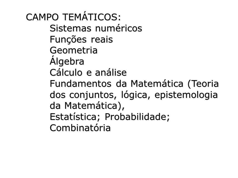 CAMPO TEMÁTICOS: Sistemas numéricos Funções reais GeometriaÁlgebra Cálculo e análise Fundamentos da Matemática (Teoria dos conjuntos, lógica, epistemo