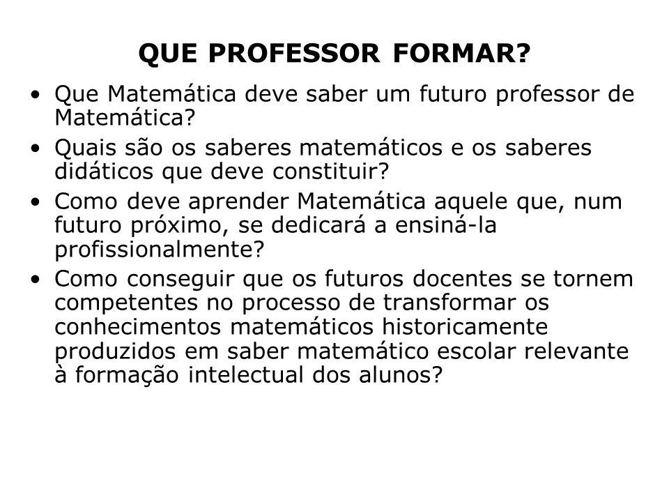 QUE PROFESSOR FORMAR? Que Matemática deve saber um futuro professor de Matemática? Quais são os saberes matemáticos e os saberes didáticos que deve co