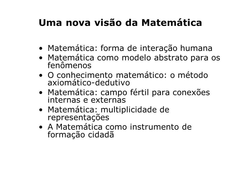 Uma nova visão da Matemática Matemática: forma de interação humana Matemática como modelo abstrato para os fenômenos O conhecimento matemático: o método axiomático-dedutivo Matemática: campo fértil para conexões internas e externas Matemática: multiplicidade de representações A Matemática como instrumento de formação cidadã