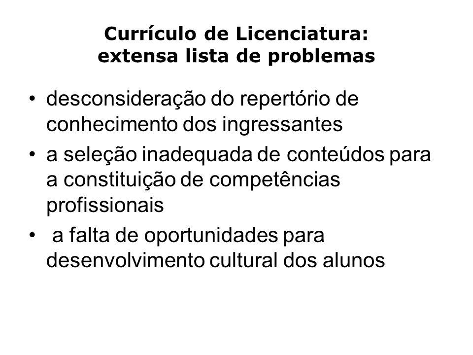 Currículo de Licenciatura: extensa lista de problemas desconsideração do repertório de conhecimento dos ingressantes a seleção inadequada de conteúdos para a constituição de competências profissionais a falta de oportunidades para desenvolvimento cultural dos alunos