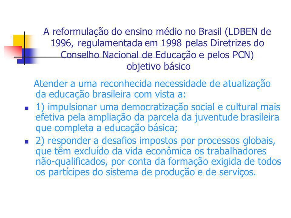 A reformulação do ensino médio no Brasil (LDBEN de 1996, regulamentada em 1998 pelas Diretrizes do Conselho Nacional de Educação e pelos PCN) objetivo