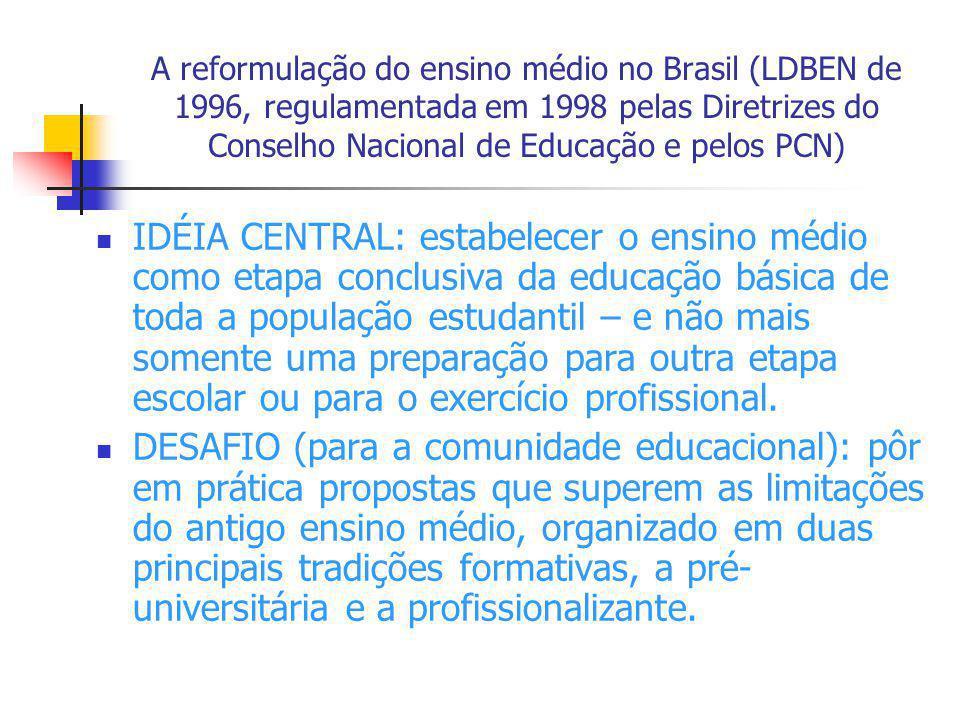 A reformulação do ensino médio no Brasil (LDBEN de 1996, regulamentada em 1998 pelas Diretrizes do Conselho Nacional de Educação e pelos PCN) IDÉIA CE