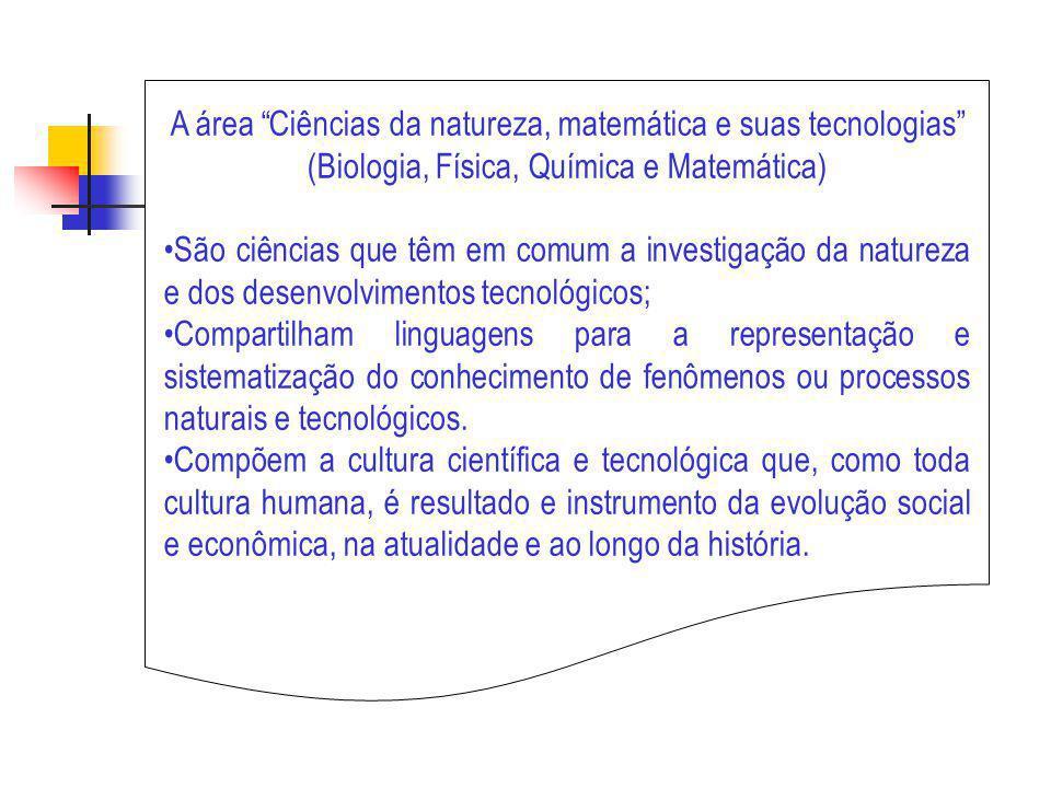 A área Ciências da natureza, matemática e suas tecnologias (objetivos educacionais) representação e comunicação ; investigação e compreensão ; contextualização sócio-cultural.