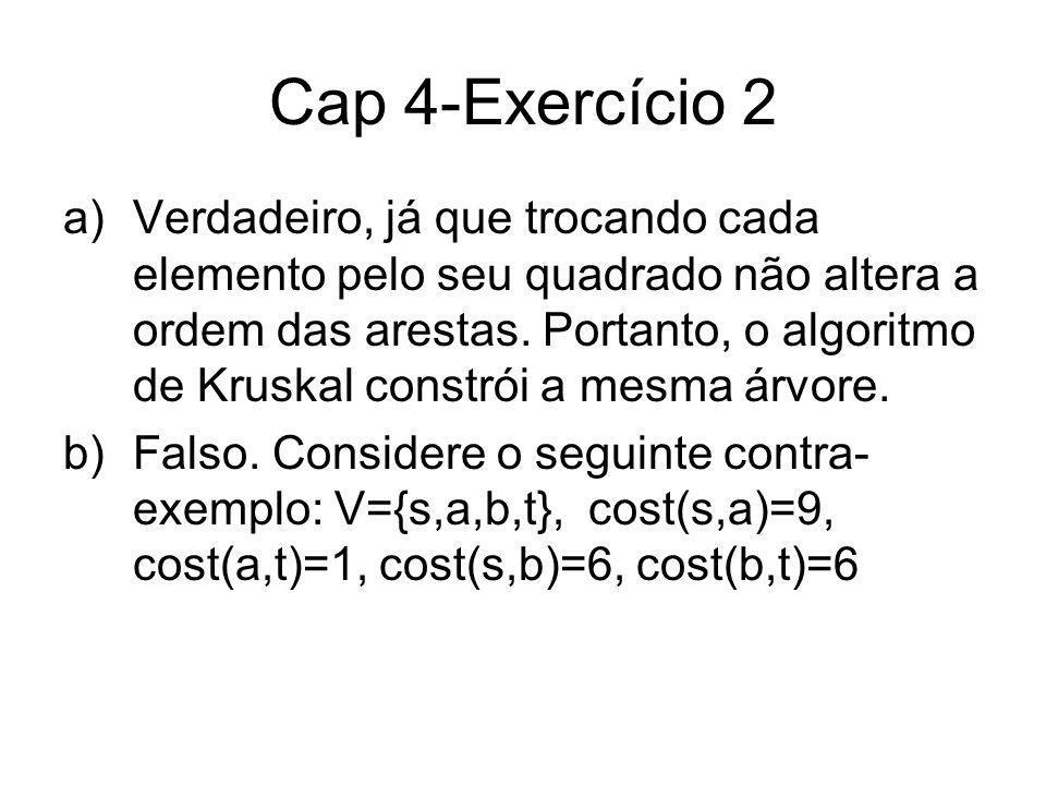 Cap 4-Exercício 2 a)Verdadeiro, já que trocando cada elemento pelo seu quadrado não altera a ordem das arestas. Portanto, o algoritmo de Kruskal const
