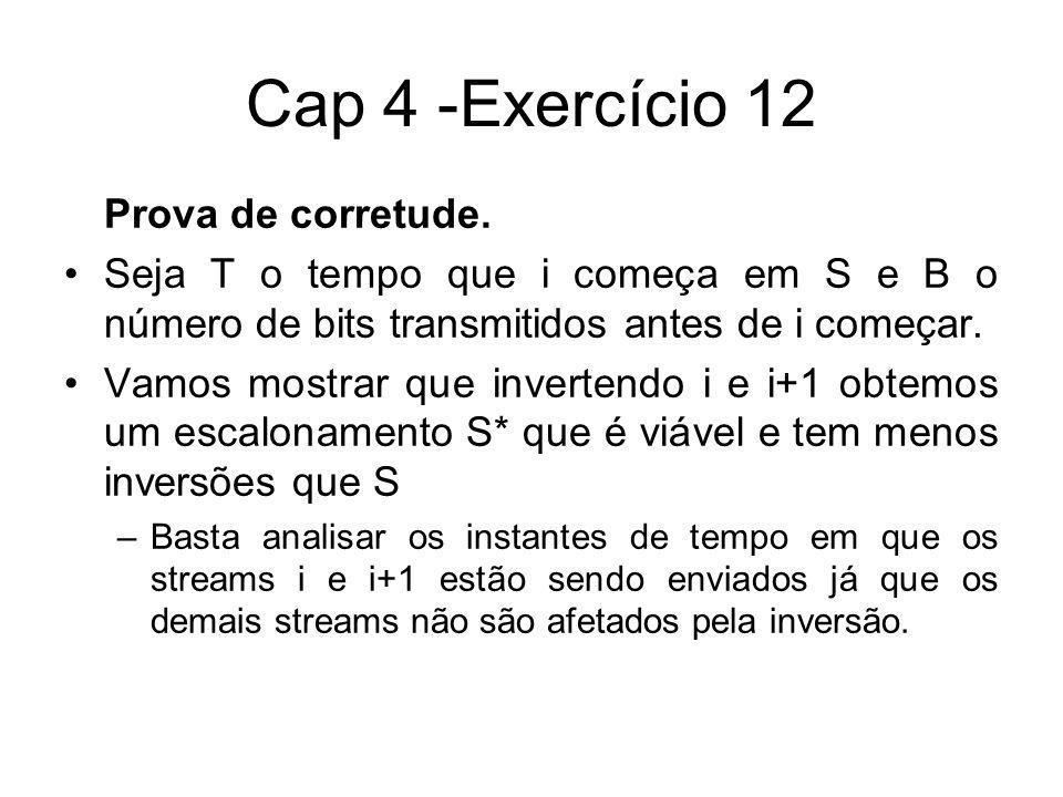 Cap 4 -Exercício 12 Prova de corretude. Seja T o tempo que i começa em S e B o número de bits transmitidos antes de i começar. Vamos mostrar que inver