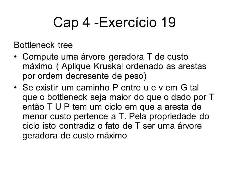 Cap 4 -Exercício 19 Bottleneck tree Compute uma árvore geradora T de custo máximo ( Aplique Kruskal ordenado as arestas por ordem decresente de peso) Se existir um caminho P entre u e v em G tal que o bottleneck seja maior do que o dado por T então T U P tem um ciclo em que a aresta de menor custo pertence a T.