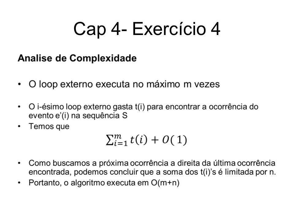 Cap 4- Exercício 4 Prova de corretude Se o algoritmo encontra a sequência ele funciona corretamente.