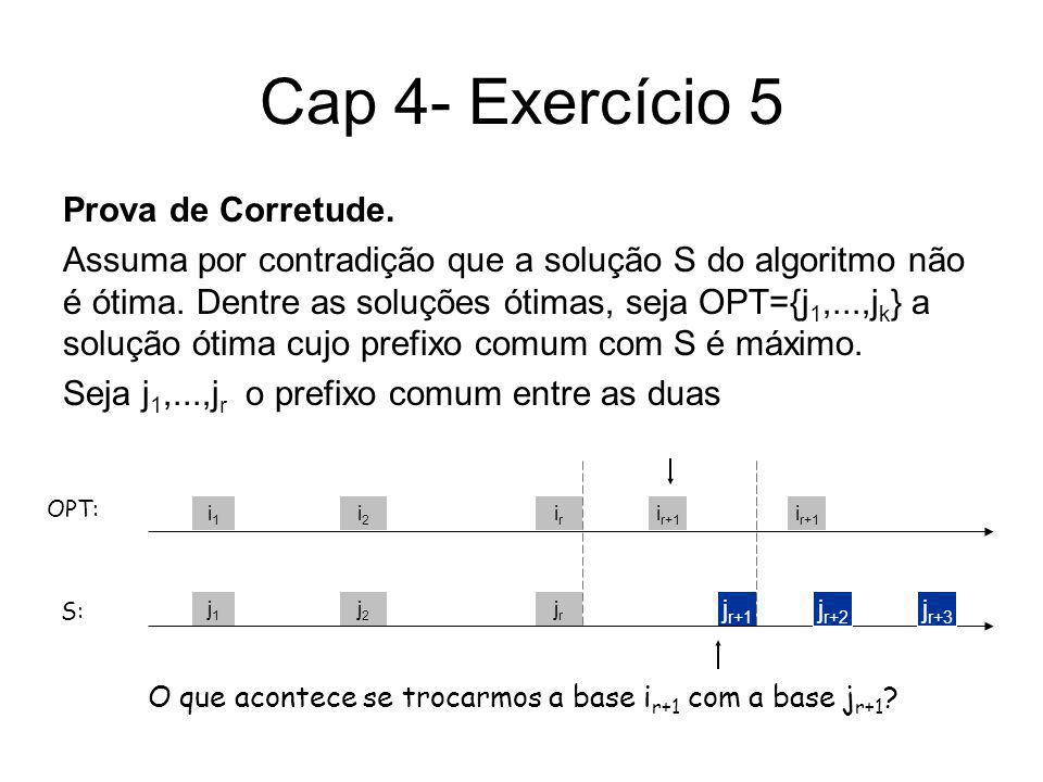 Cap 4- Exercício 5 Prova de Corretude. Assuma por contradição que a solução S do algoritmo não é ótima. Dentre as soluções ótimas, seja OPT={j 1,...,j