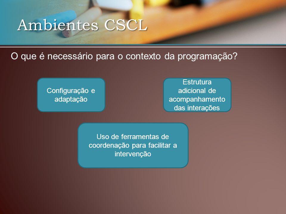 Ambientes CSCL O que é necessário para o contexto da programação.