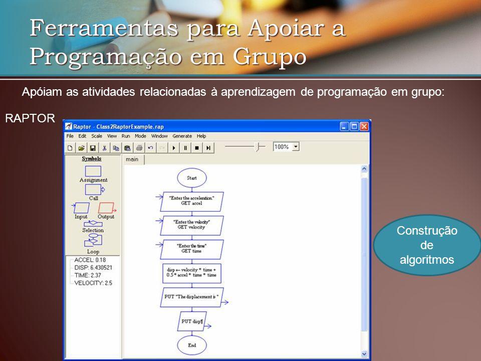 Ferramentas para Apoiar a Programação em Grupo RAPTOR Apóiam as atividades relacionadas à aprendizagem de programação em grupo: Construção de algoritmos