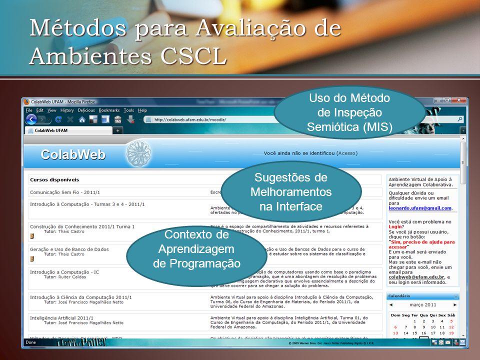Métodos para Avaliação de Ambientes CSCL Uso do Método de Inspeção Semiótica (MIS) Contexto de Aprendizagem de Programação Sugestões de Melhoramentos na Interface