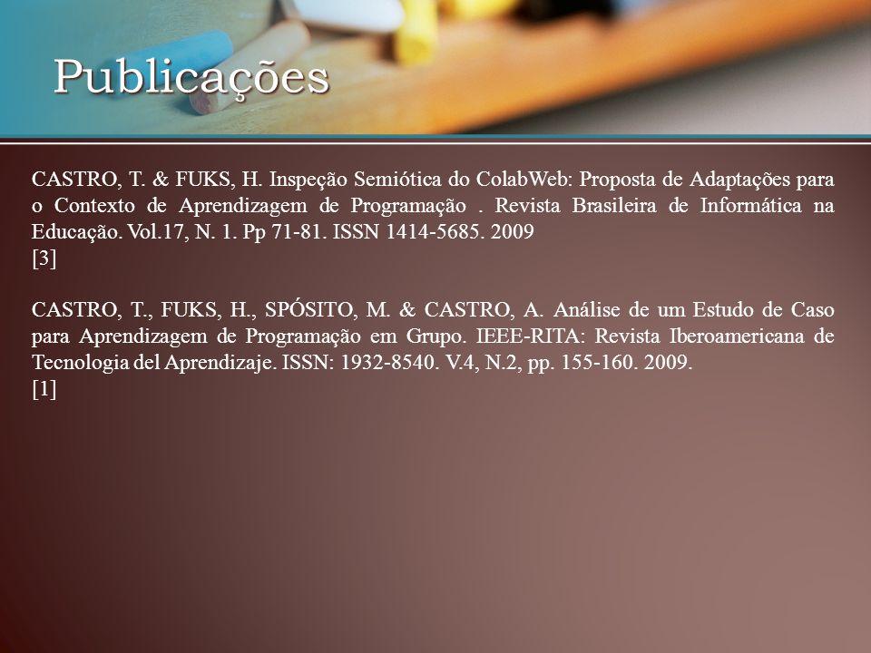 Publicações CASTRO, T. & FUKS, H. Inspeção Semiótica do ColabWeb: Proposta de Adaptações para o Contexto de Aprendizagem de Programação. Revista Brasi