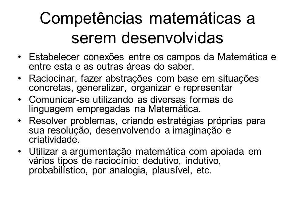 Competências matemáticas a serem desenvolvidas Estabelecer conexões entre os campos da Matemática e entre esta e as outras áreas do saber.
