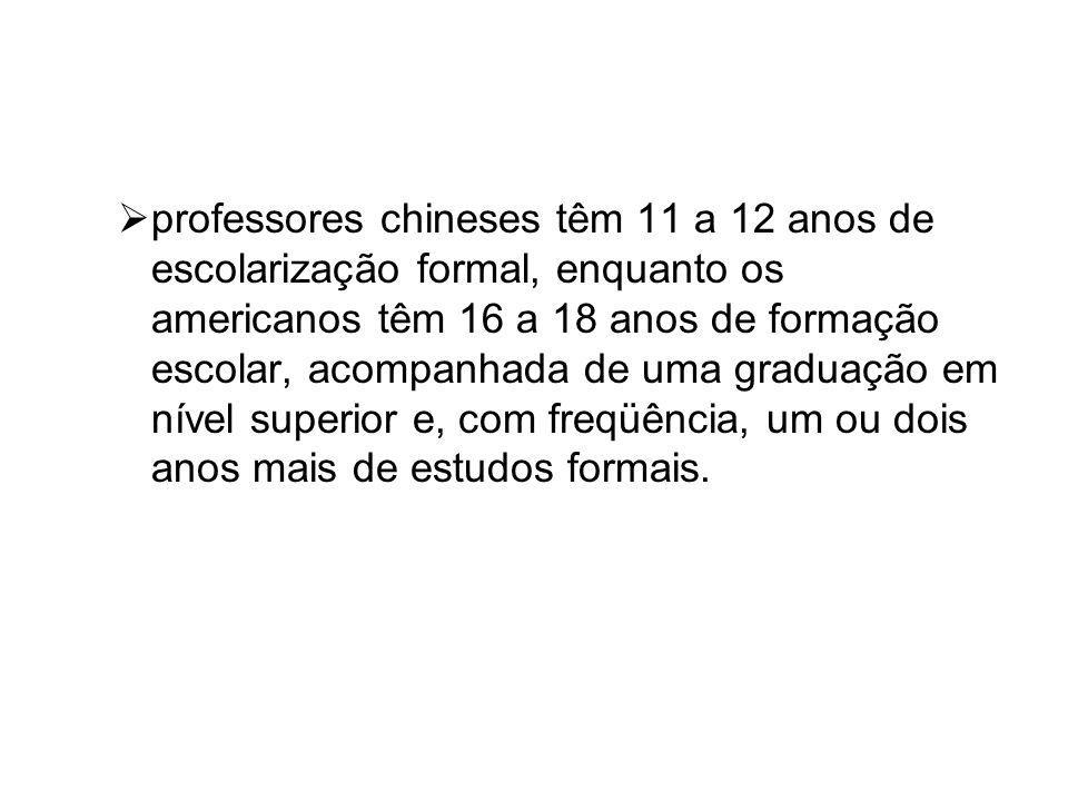 professores chineses têm 11 a 12 anos de escolarização formal, enquanto os americanos têm 16 a 18 anos de formação escolar, acompanhada de uma graduação em nível superior e, com freqüência, um ou dois anos mais de estudos formais.