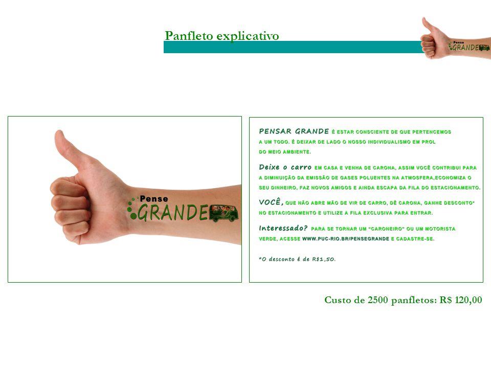 Panfleto explicativo Custo de 2500 panfletos: R$ 120,00