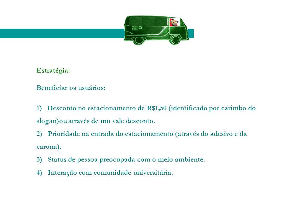 Estratégia: Beneficiar os usuários: 1) Desconto no estacionamento de R$1,50 (identificado por carimbo do slogan)ou através de um vale desconto. 2) Pri