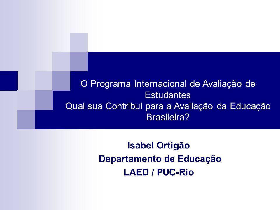 O Programa Internacional de Avaliação de Estudantes Qual sua Contribui para a Avaliação da Educação Brasileira? Isabel Ortigão Departamento de Educaçã