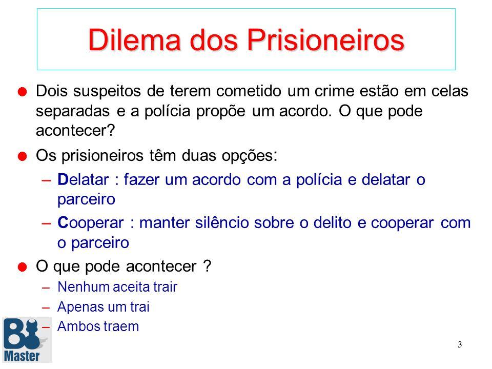 3 Dilema dos Prisioneiros l Dois suspeitos de terem cometido um crime estão em celas separadas e a polícia propõe um acordo.