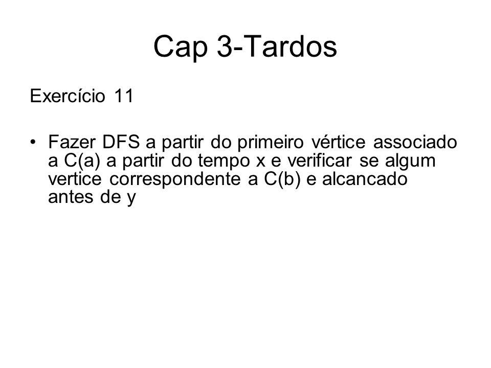 Cap 3-Tardos Exercício 11 Fazer DFS a partir do primeiro vértice associado a C(a) a partir do tempo x e verificar se algum vertice correspondente a C(