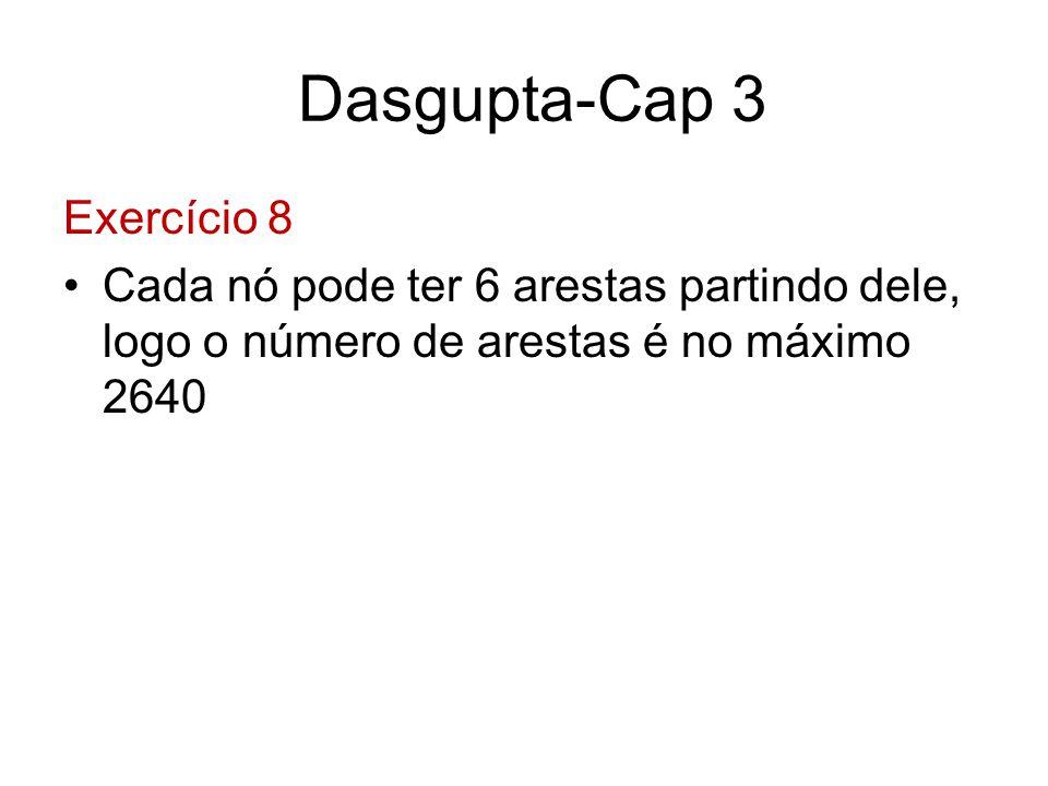 Dasgupta-Cap 3 Exercício 8 Cada nó pode ter 6 arestas partindo dele, logo o número de arestas é no máximo 2640