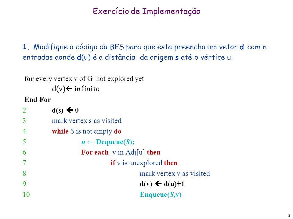 2 Exercício de Implementação 1. Modifique o código da BFS para que esta preencha um vetor d com n entradas aonde d(u) é a distância da origem s até o