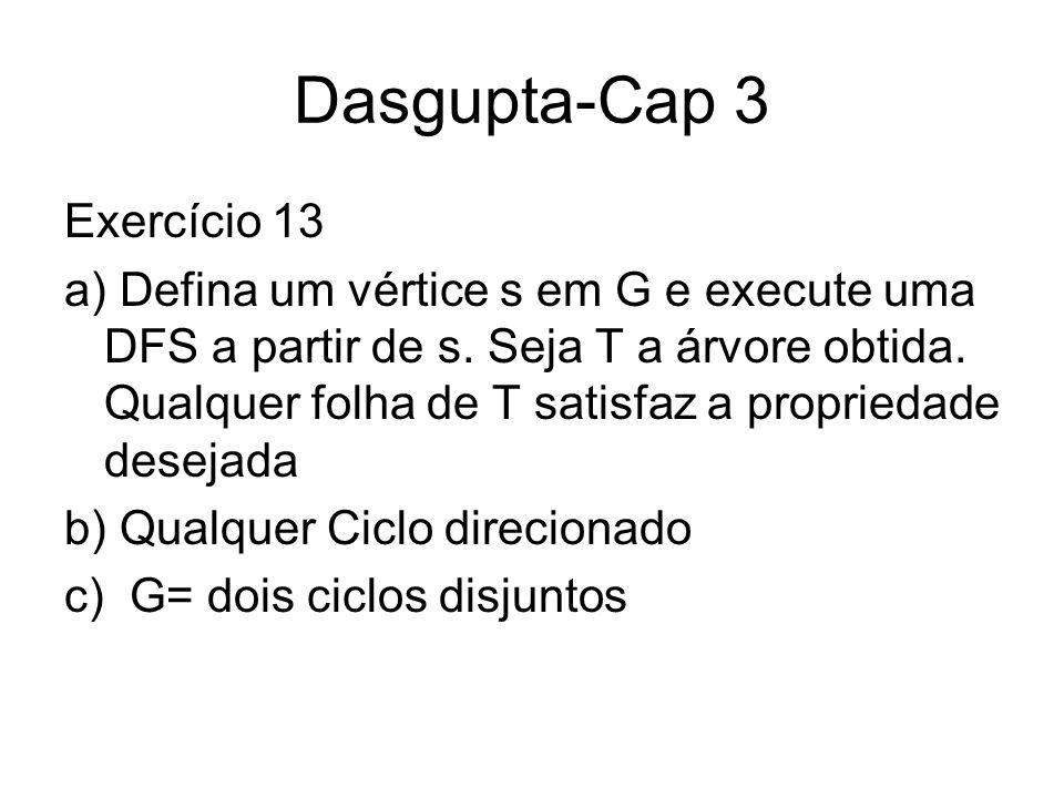 Dasgupta-Cap 3 Exercício 13 a) Defina um vértice s em G e execute uma DFS a partir de s. Seja T a árvore obtida. Qualquer folha de T satisfaz a propri