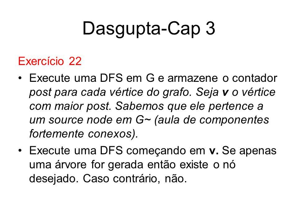 Dasgupta-Cap 3 Exercício 22 Execute uma DFS em G e armazene o contador post para cada vértice do grafo. Seja v o vértice com maior post. Sabemos que e