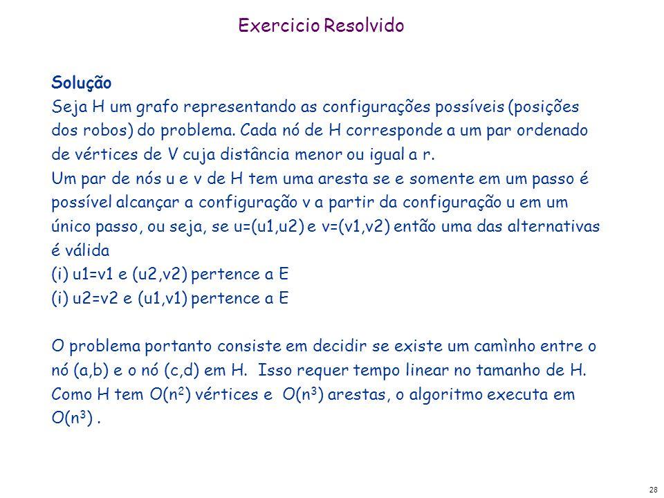 28 Exercicio Resolvido Solução Seja H um grafo representando as configurações possíveis (posições dos robos) do problema. Cada nó de H corresponde a u