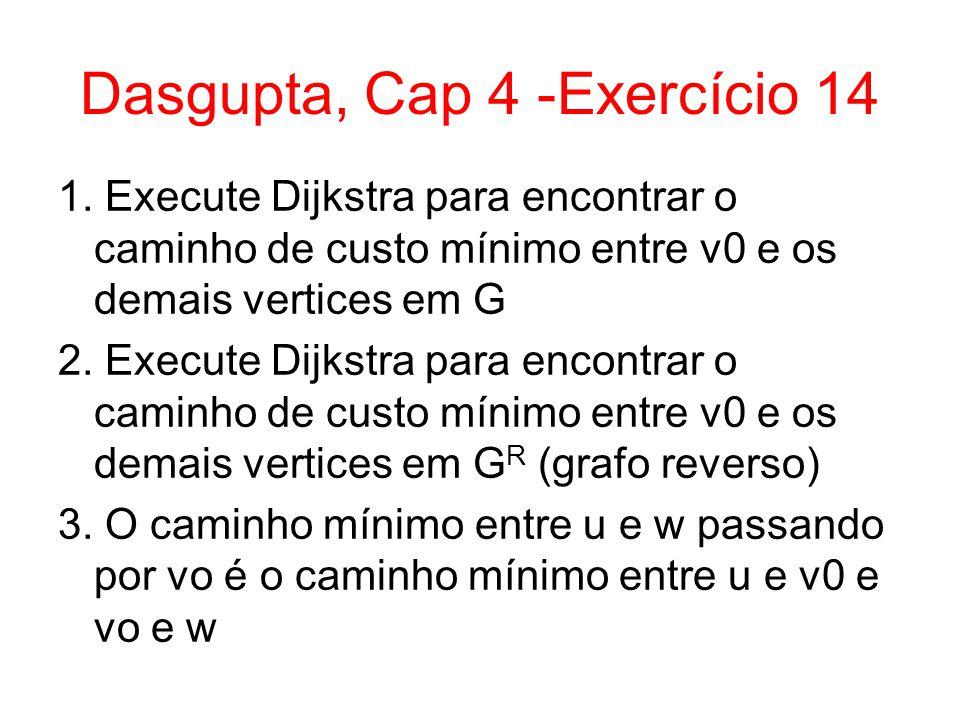 Dasgupta, Cap 4 -Exercício 14 1. Execute Dijkstra para encontrar o caminho de custo mínimo entre v0 e os demais vertices em G 2. Execute Dijkstra para