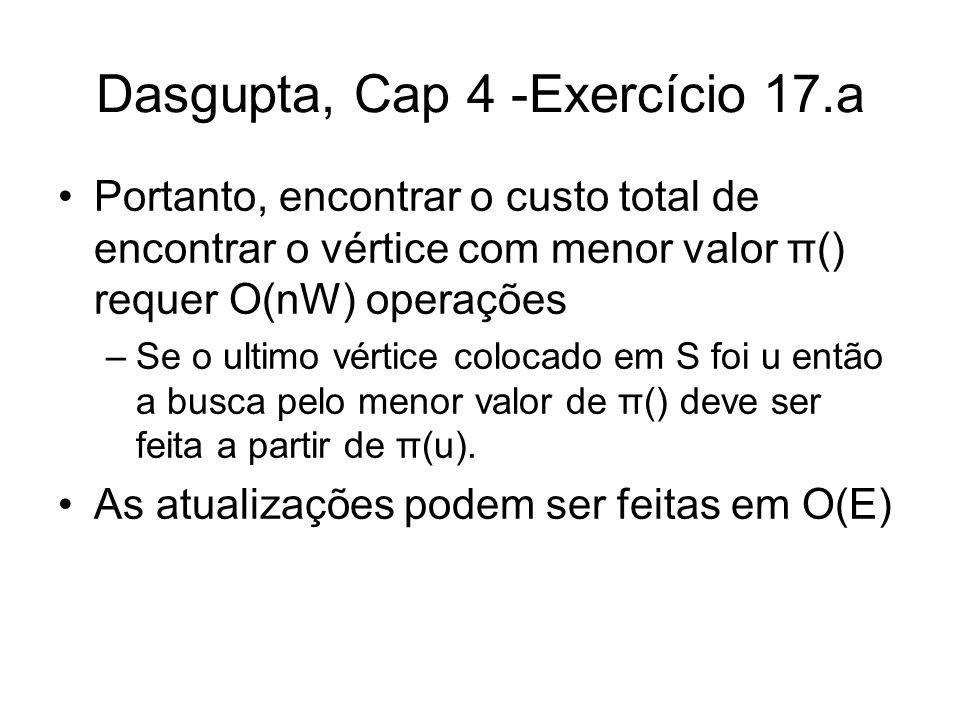 Dasgupta, Cap 4 -Exercício 17.a Portanto, encontrar o custo total de encontrar o vértice com menor valor π() requer O(nW) operações –Se o ultimo vérti