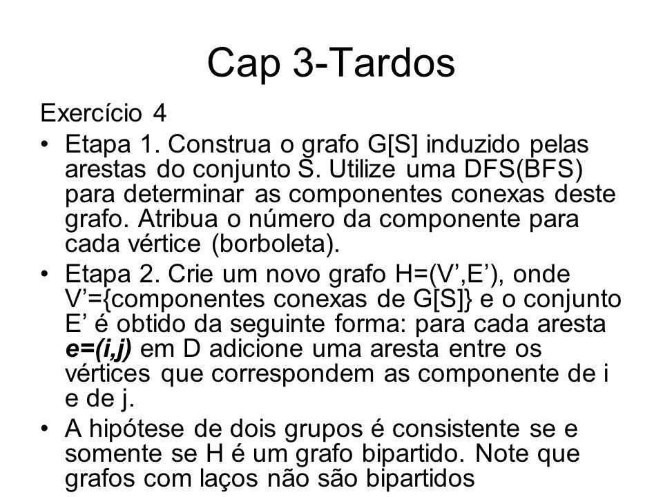 Cap 3-Tardos Exercício 4 Etapa 1. Construa o grafo G[S] induzido pelas arestas do conjunto S. Utilize uma DFS(BFS) para determinar as componentes cone
