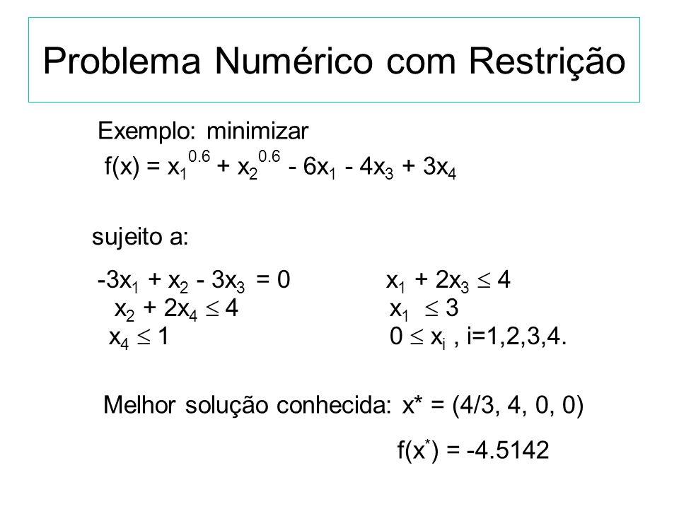 Problema Numérico com Restrição Encontrar um vetor X ótimo para: f(x), x = (x 1,...,x q ) R q sujeito a p 0 equações: c i (x) = 0, i=0,..,p, e a m-p 0