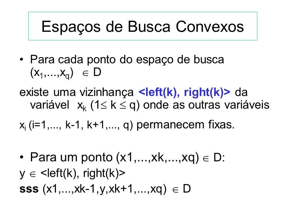 GENOCOP Otimizar: f(x), x = (x 1,...,x q ) R q, com (x 1,...,x q ) D R q, sendo: 1) D um conjunto convexo. 2) D é definido pelo domínio das variáveis: