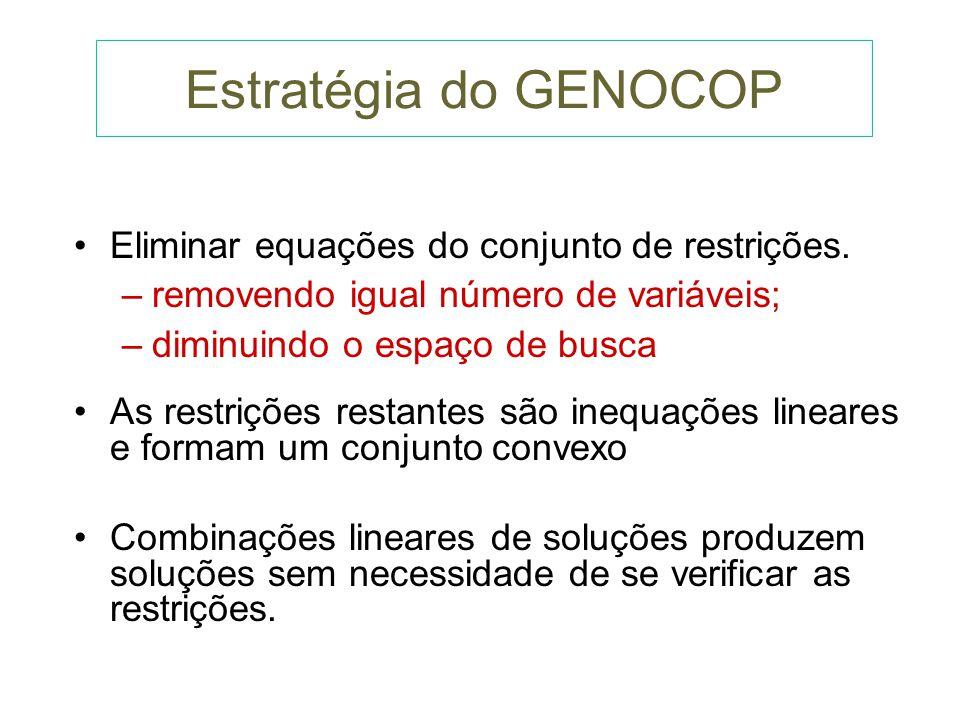 GENOCOP Classe de problemas considerada pelo GENOCOP: Otimizar: f(x 1, x 2...,x q ) sujeito às seguintes restrições lineares: l x u, l=, u=, x= Ax = b