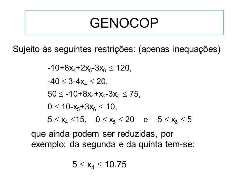 GENOCOP Eliminar as equações e reduzir o número de variáveis x 1 = 3 - 4x 4, x 2 = -10 + 8x 4 + x 5 - 3x 6, x 3 = 10 - x 5 + 3x 6 O problema original