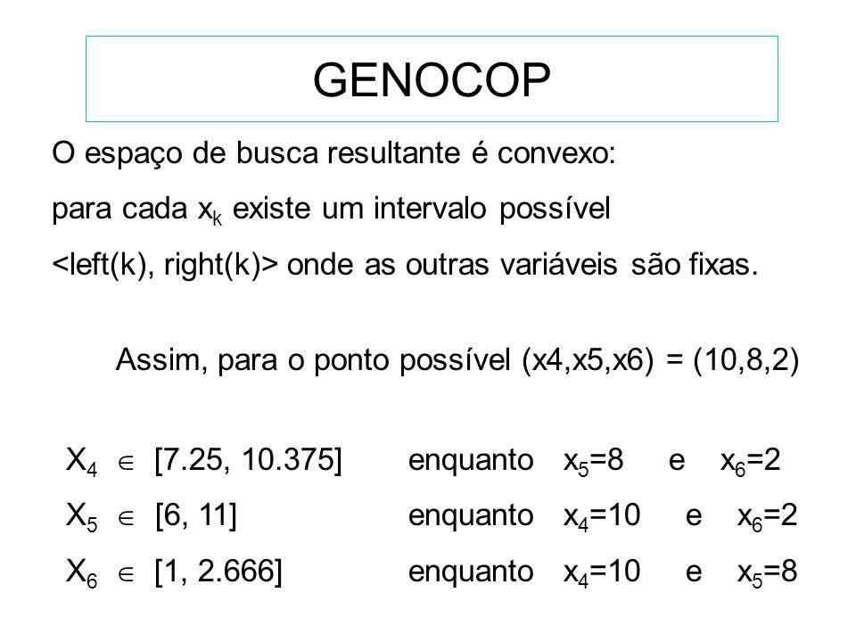 GENOCOP Sujeito às seguintes restrições: (apenas inequações) -10+8x 4 +2x 5 -3x 6 120, -40 3-4x 4 20, 50 -10+8x 4 +x 5 -3x 6 75, 0 10-x 5 +3x 6 10, 5