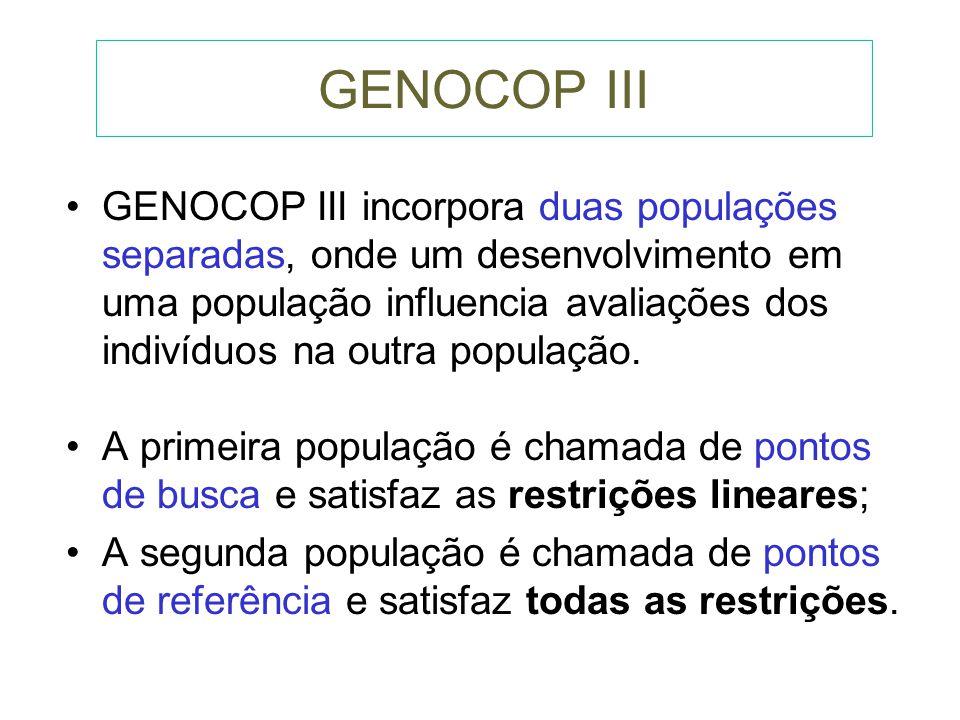 GENOCOP II O GENOCOP II permite tratar problemas que apresentem restrições Não Lineares. Ex. Referência: pp 134 Michalewicz