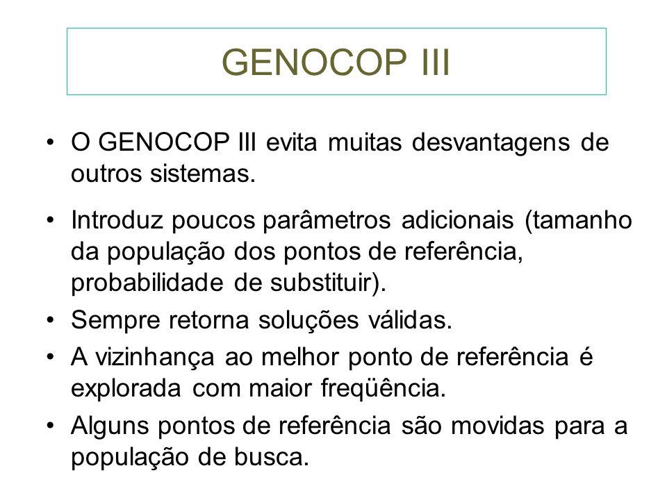 GENOCOP III P s ={S1,S2,S3,S4,S5,S6} e P r ={R1,R2,R3,R4} R1 R2 R3 S1 S2 R4 S6 S4 S5 S3 S7
