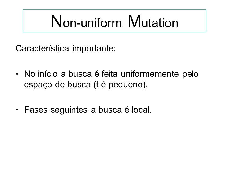 N on-uniform M utation Genitor: x Descendente : x = (x1,..xk,..xq), onde: xk + (t, right(k) - xk), se bit sorteado = 0 xk - (t, xk - left(k)), se bit