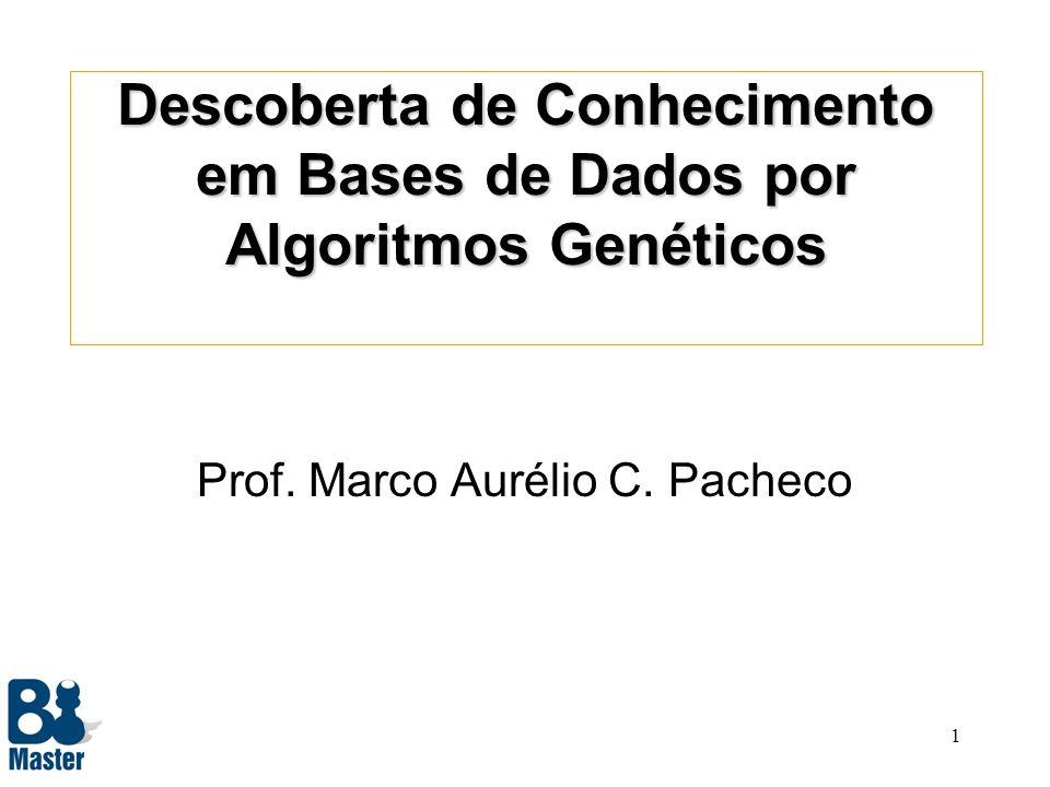1 Descoberta de Conhecimento em Bases de Dados por Algoritmos Genéticos Prof.