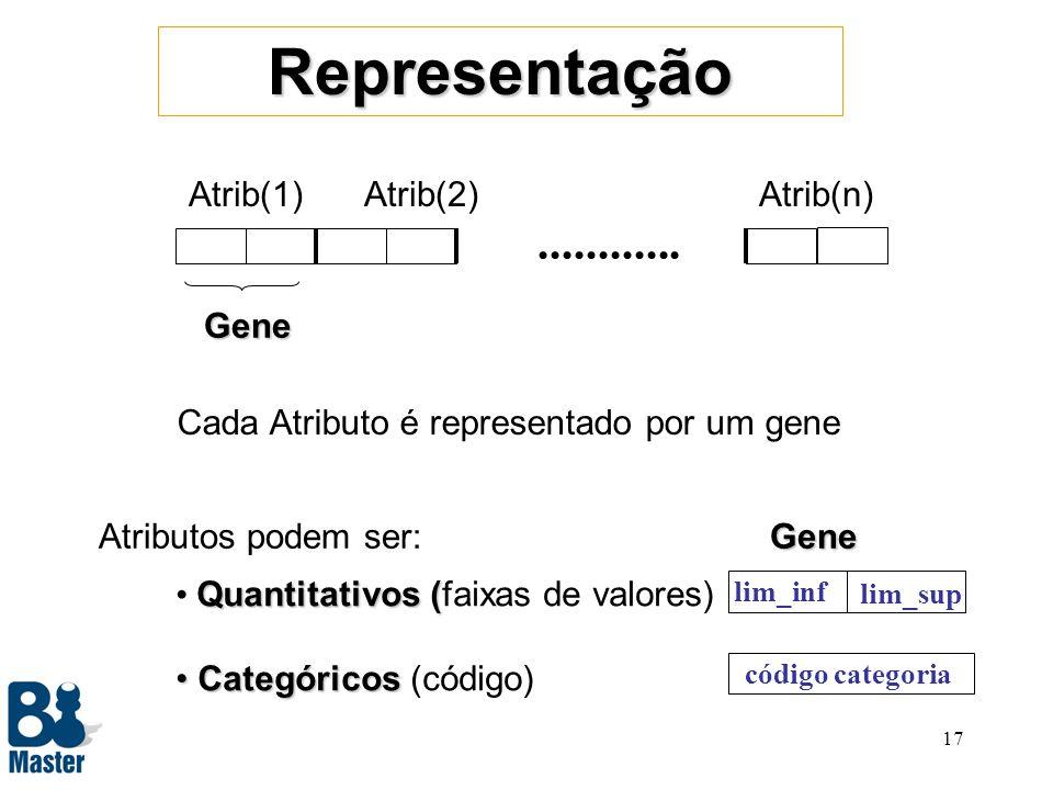 16 Cromossoma representa uma Regra Regras :=antecedentes + consequentes Se COND1 ^ COND2 ^...ENTÃO CLASSE_A Exemplo: Se 200<salário<3000 ^ sexo=M ENTÃO Bom-Pagador Evoluir Regra Encontrar regra com alta Ac e Ab –Escolher atributos que farão parte da regra –Descobrir faixa de valores para atributos quantitativos –Descobrir conjunto de categorias para os categóricos