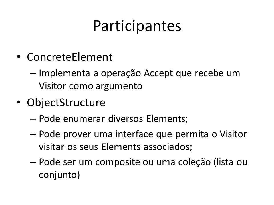 Participantes ConcreteElement – Implementa a operação Accept que recebe um Visitor como argumento ObjectStructure – Pode enumerar diversos Elements; –