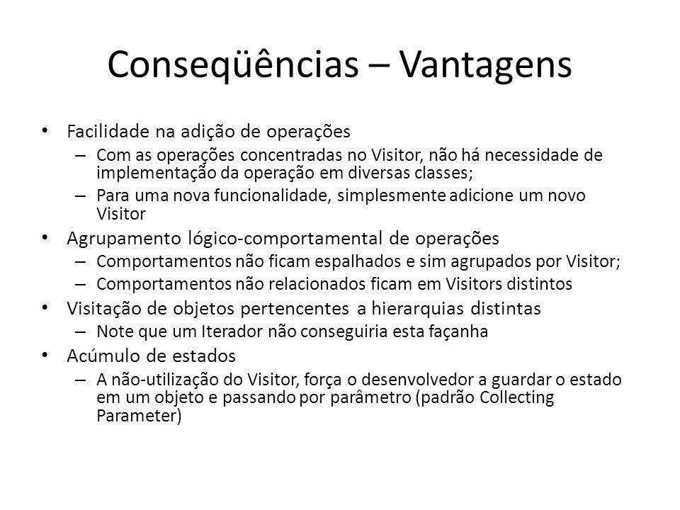 Conseqüências – Vantagens Facilidade na adição de operações – Com as operações concentradas no Visitor, não há necessidade de implementação da operaçã